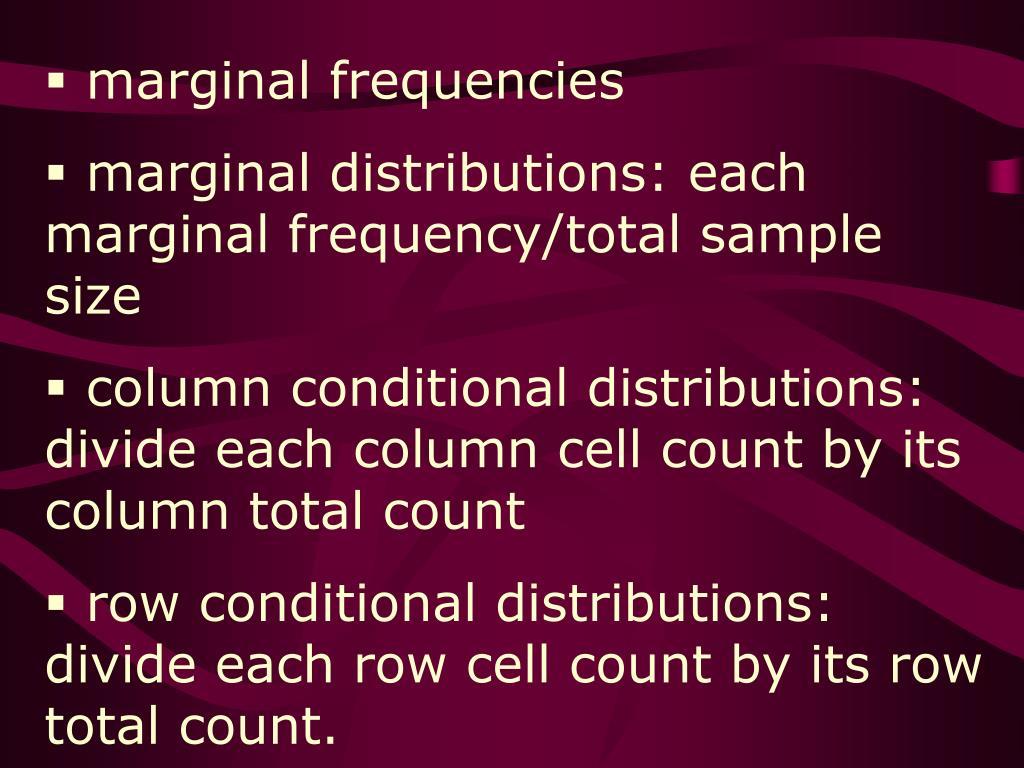 marginal frequencies