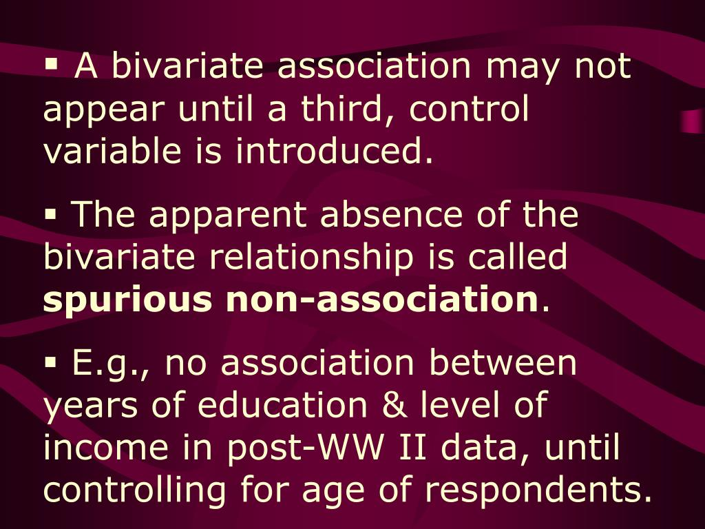 A bivariate association may not appear until a third, control variable is introduced.
