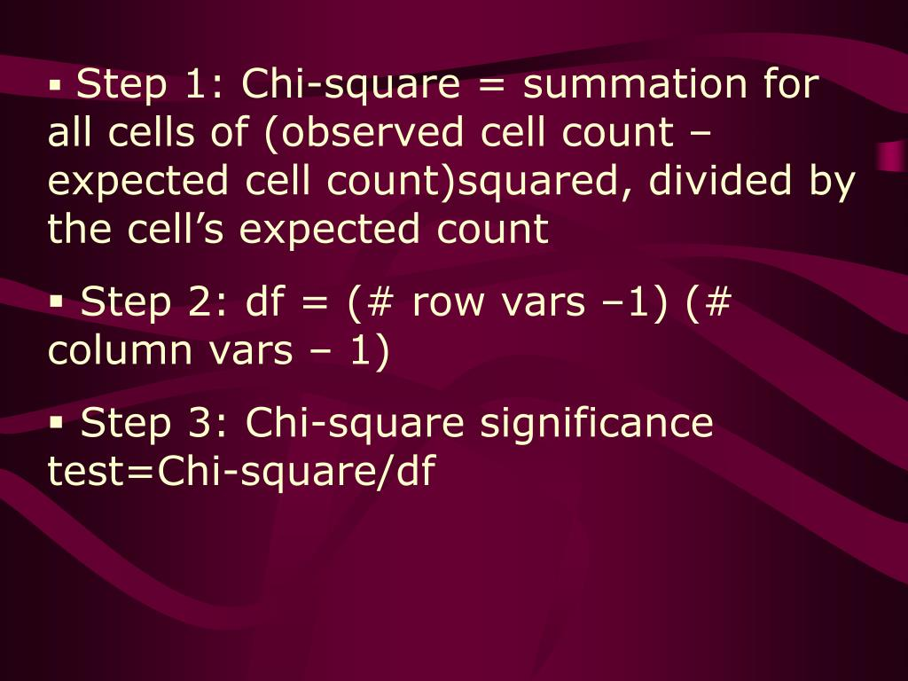 Step 1: Chi-square = summation for all cells of (observed cell count – expected cell count)squared, divided by the cell's expected count