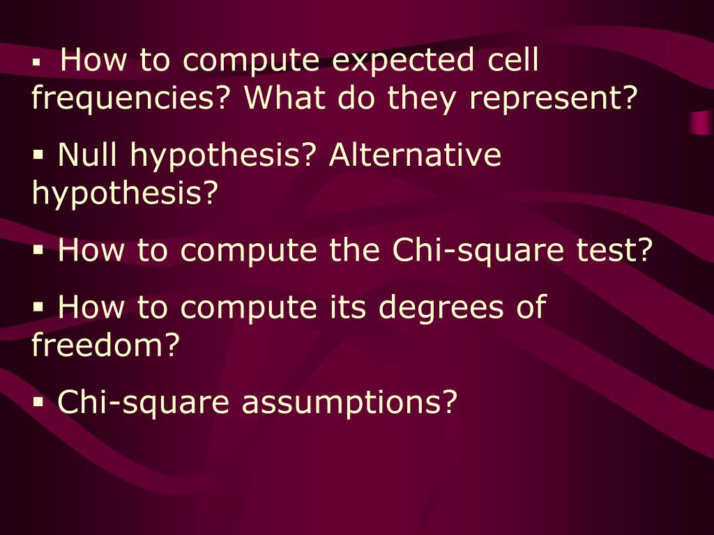 How to compute expected cell frequencies? What do they represent?
