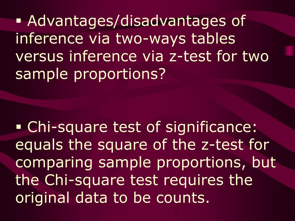 Advantages/disadvantages of inference via two-ways tables versus inference via z-test for two sample proportions?