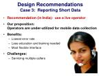 design recommendations case 3 reporting short data