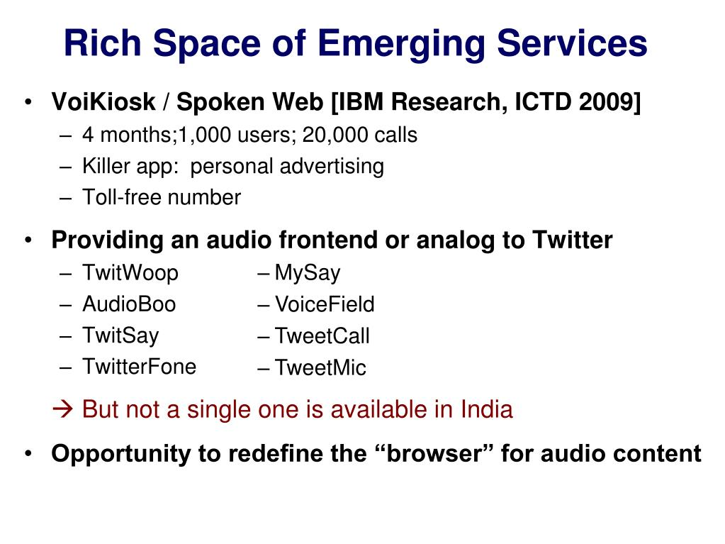 Rich Space of Emerging Services
