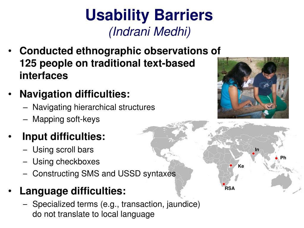 Usability Barriers
