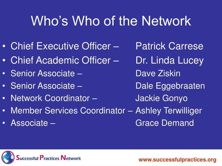 Who s who of the network l.jpg