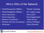 who s who of the network