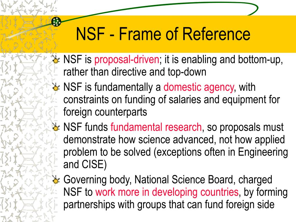 NSF - Frame of Reference