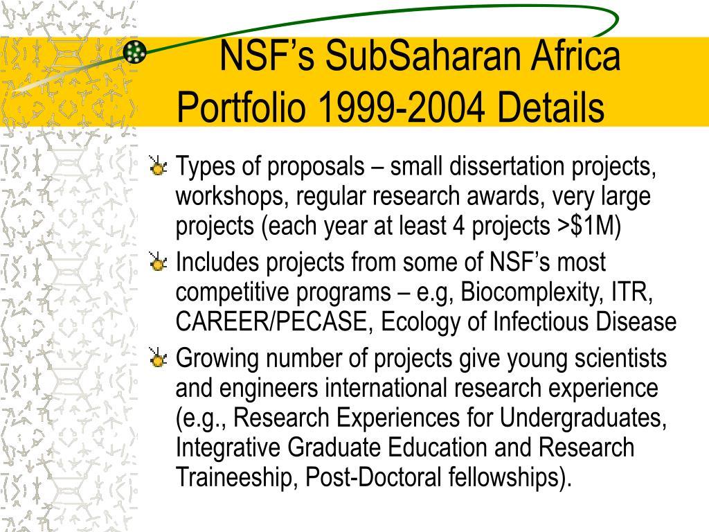 NSF's SubSaharan Africa Portfolio 1999-2004 Details