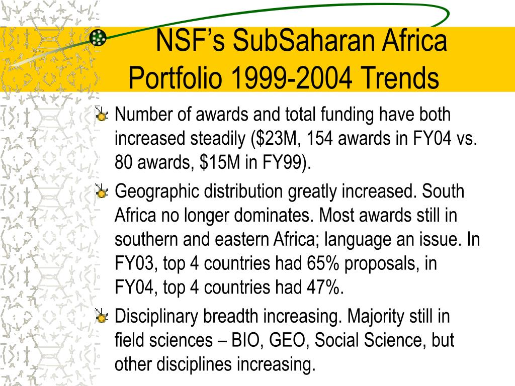 NSF's SubSaharan Africa Portfolio 1999-2004 Trends