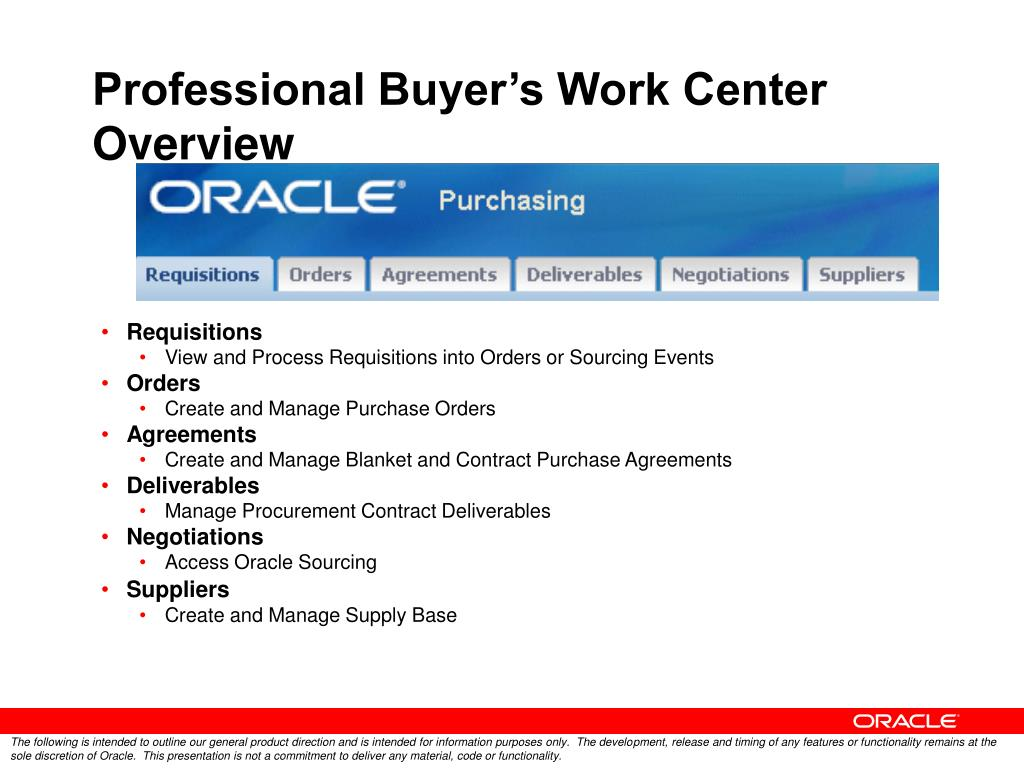 Professional Buyer's Work Center