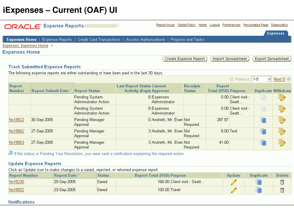 iExpenses – Current (OAF) UI