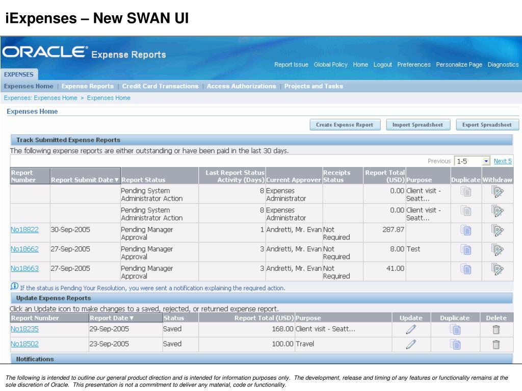 iExpenses – New SWAN UI