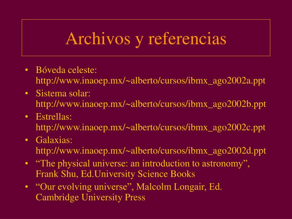 Archivos y referencias
