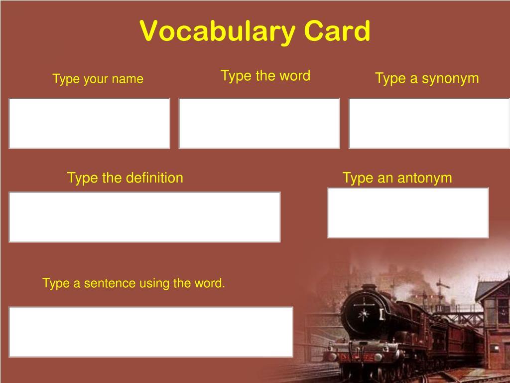 Vocabulary Card