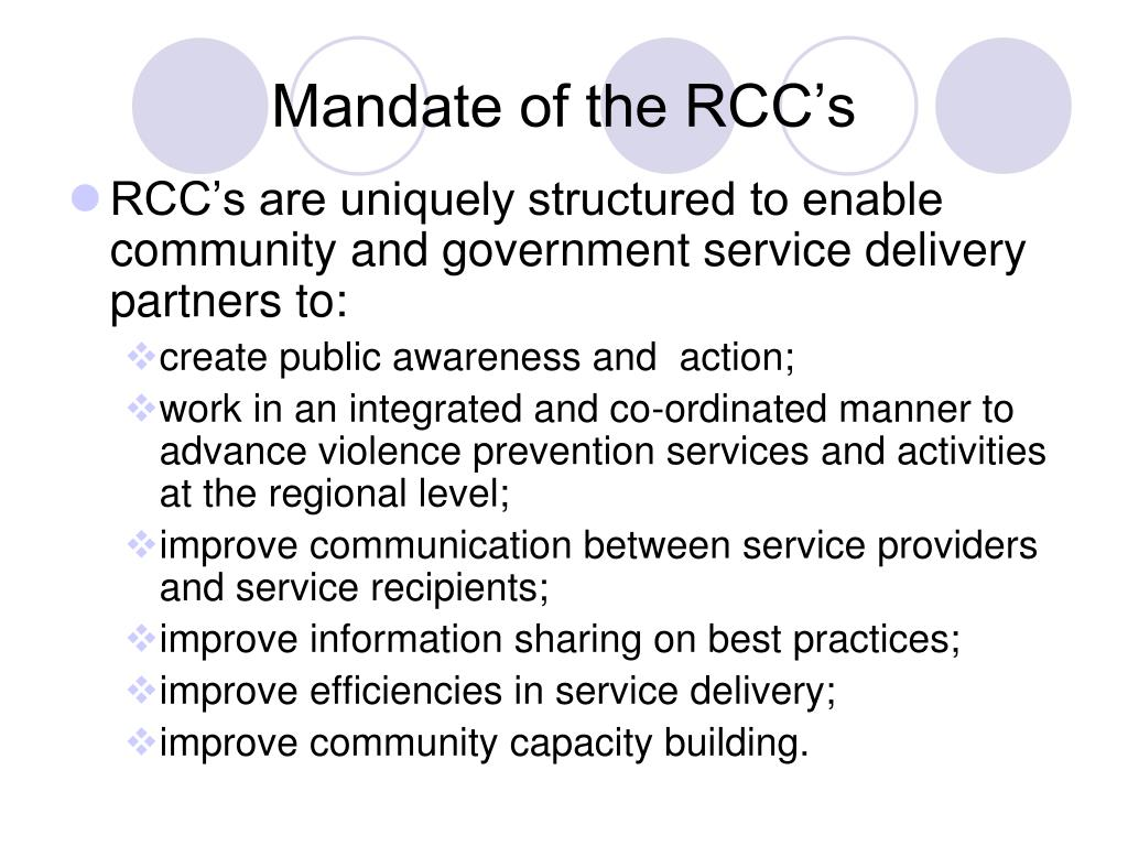 Mandate of the RCC's