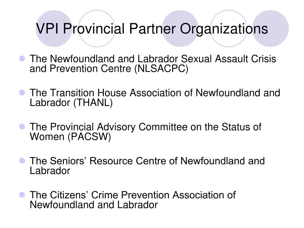 VPI Provincial Partner Organizations