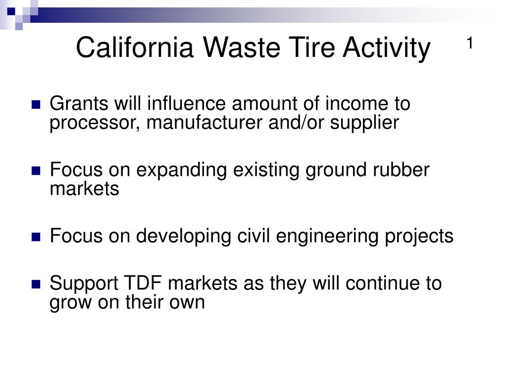 California Waste Tire Activity