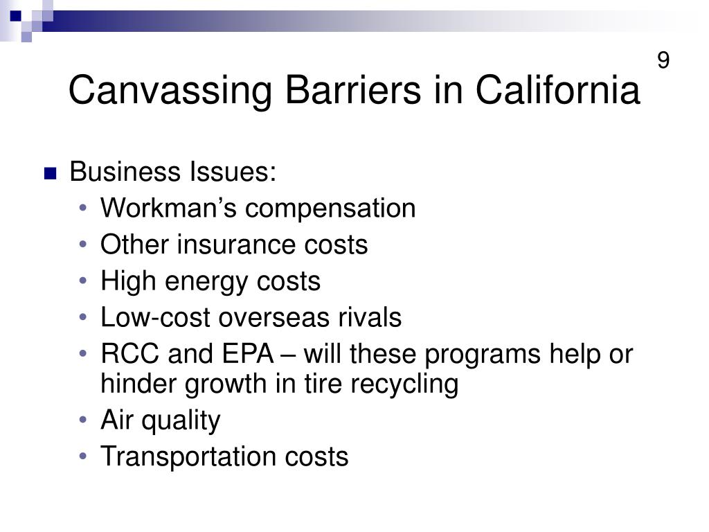 Canvassing Barriers in California