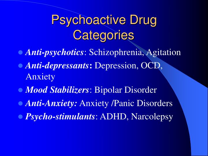 Psychoactive drug categories