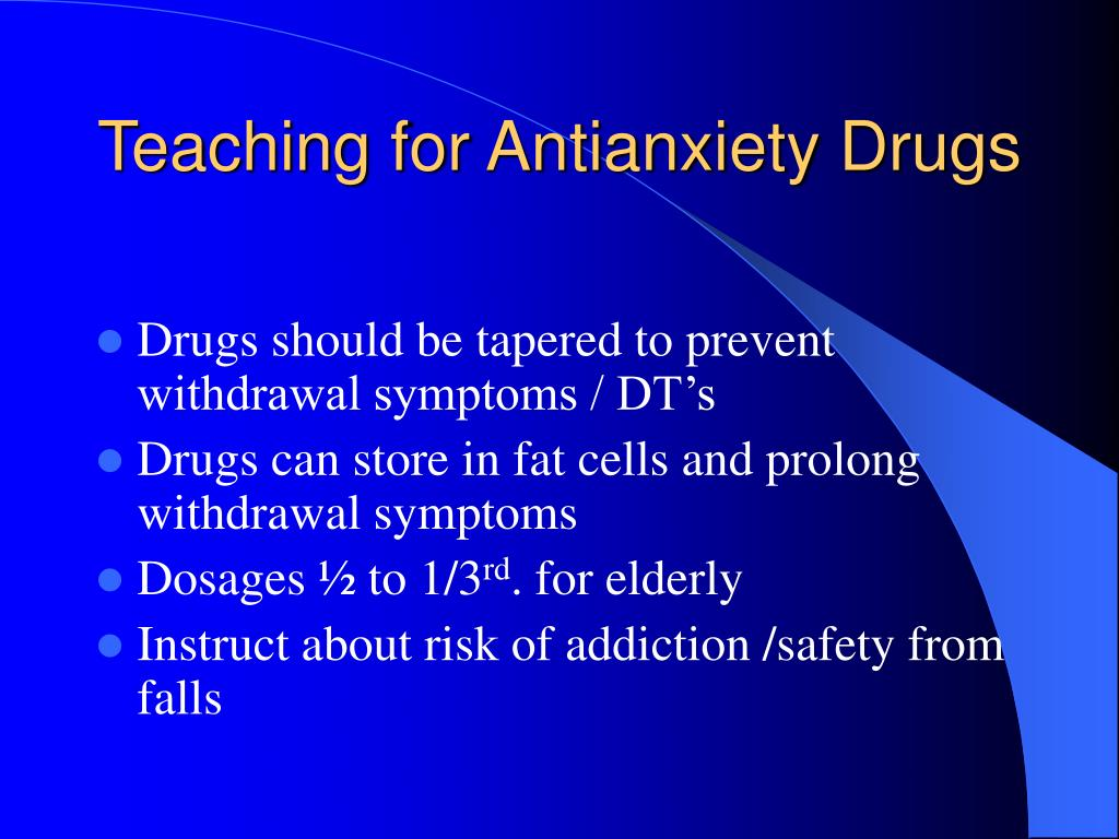 Teaching for Antianxiety Drugs
