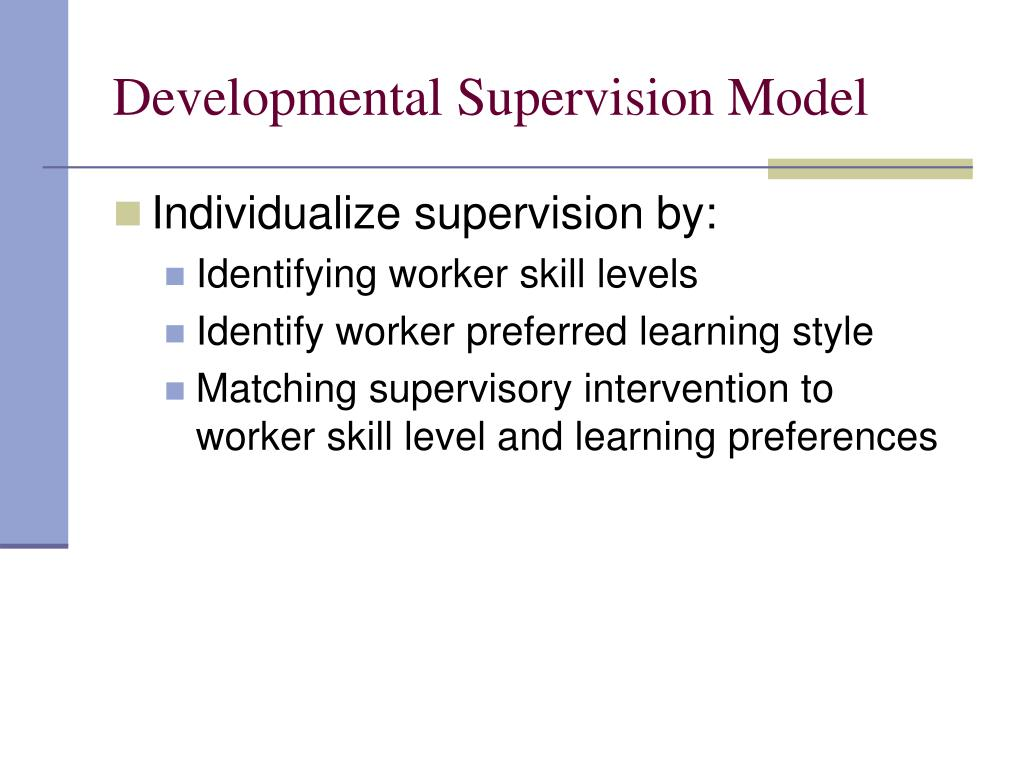 Developmental Supervision Model