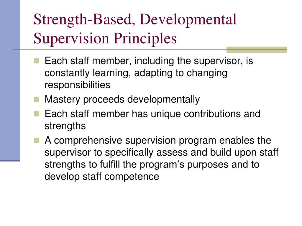 Strength-Based, Developmental Supervision Principles
