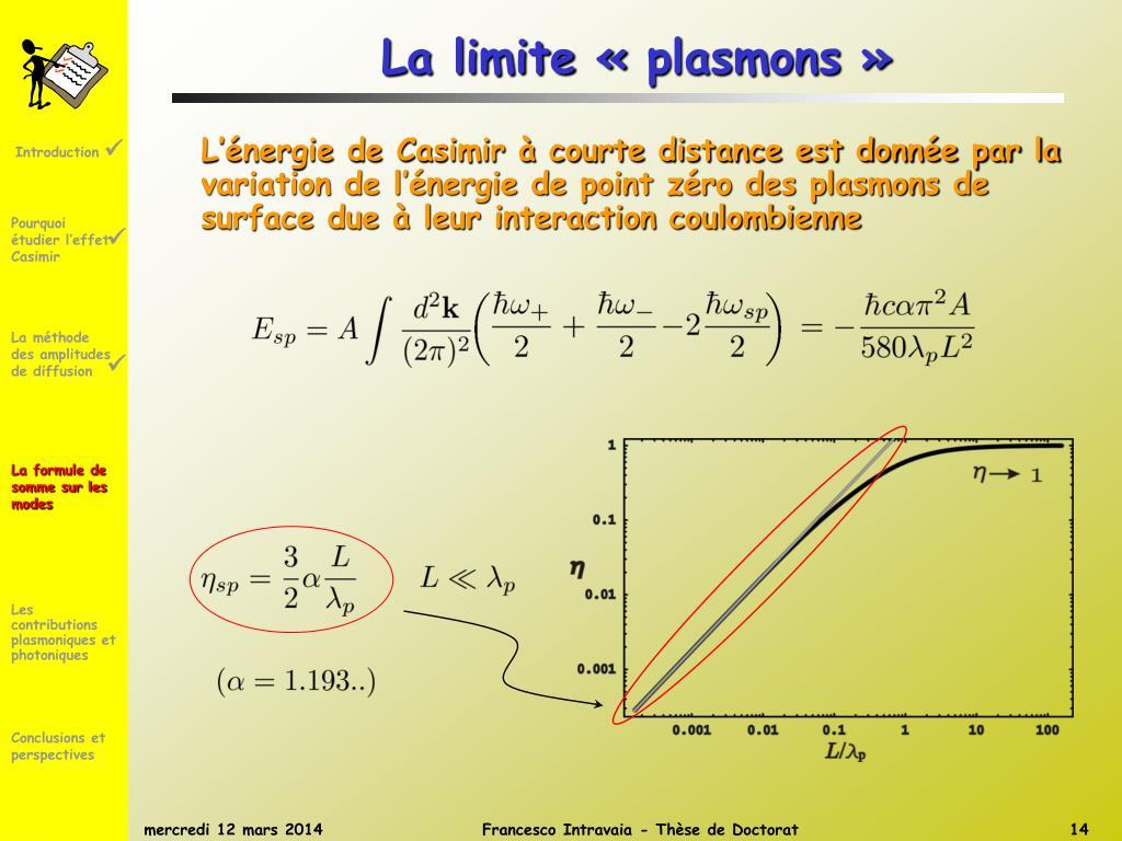 La limite «plasmons »