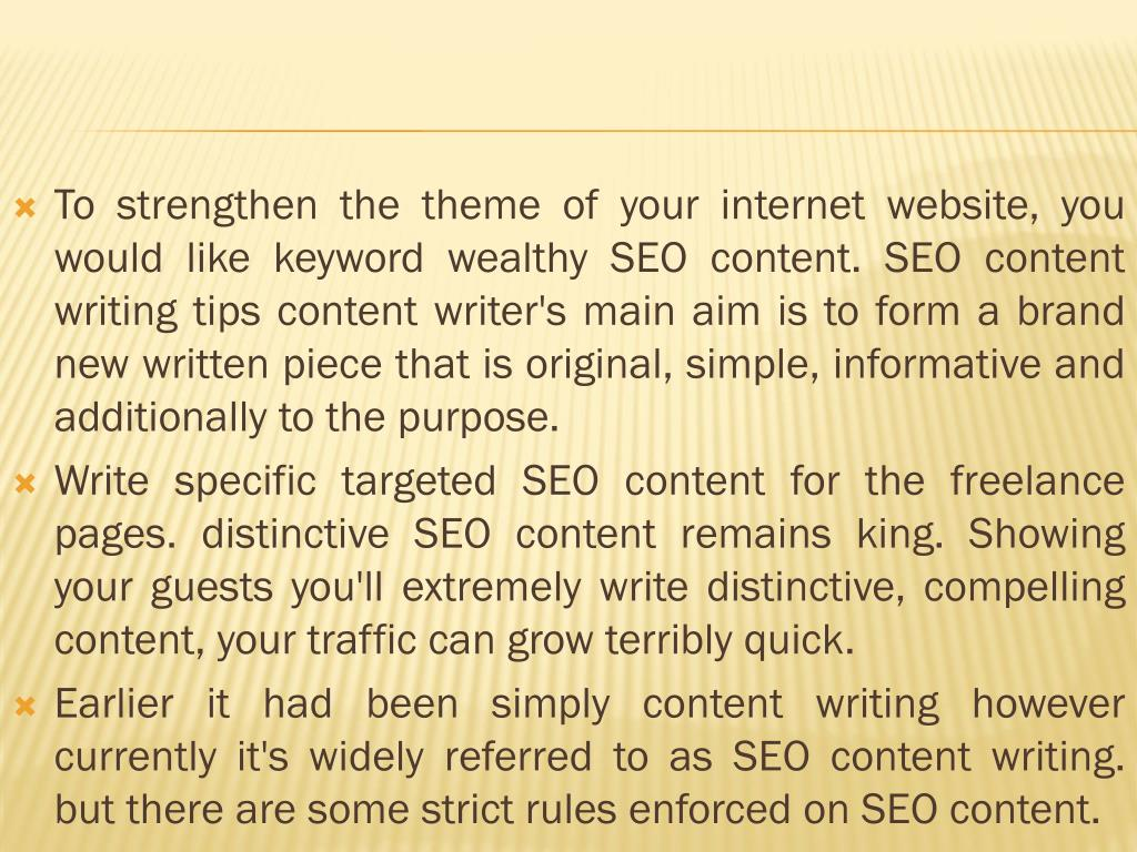 To strengthen the theme of your internet website, you would like keyword wealthy SEO content. SEO content writing tips content writer's main aim is to form a brand new written piece that is original, simple, informative and additionally to the purpose