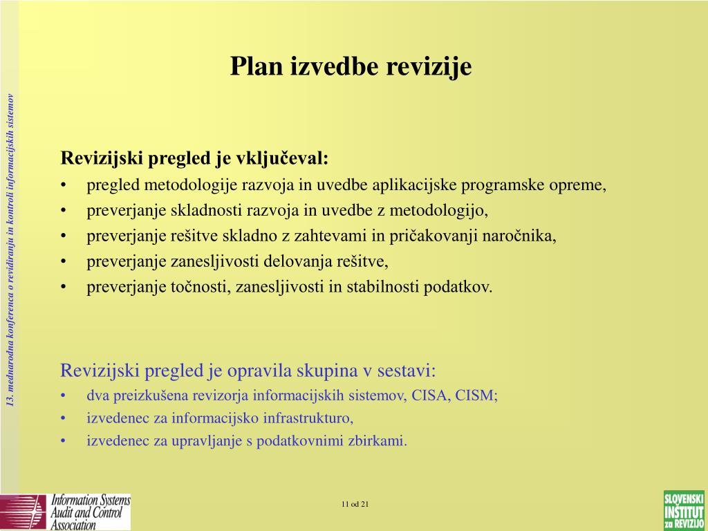Plan izvedbe revizije