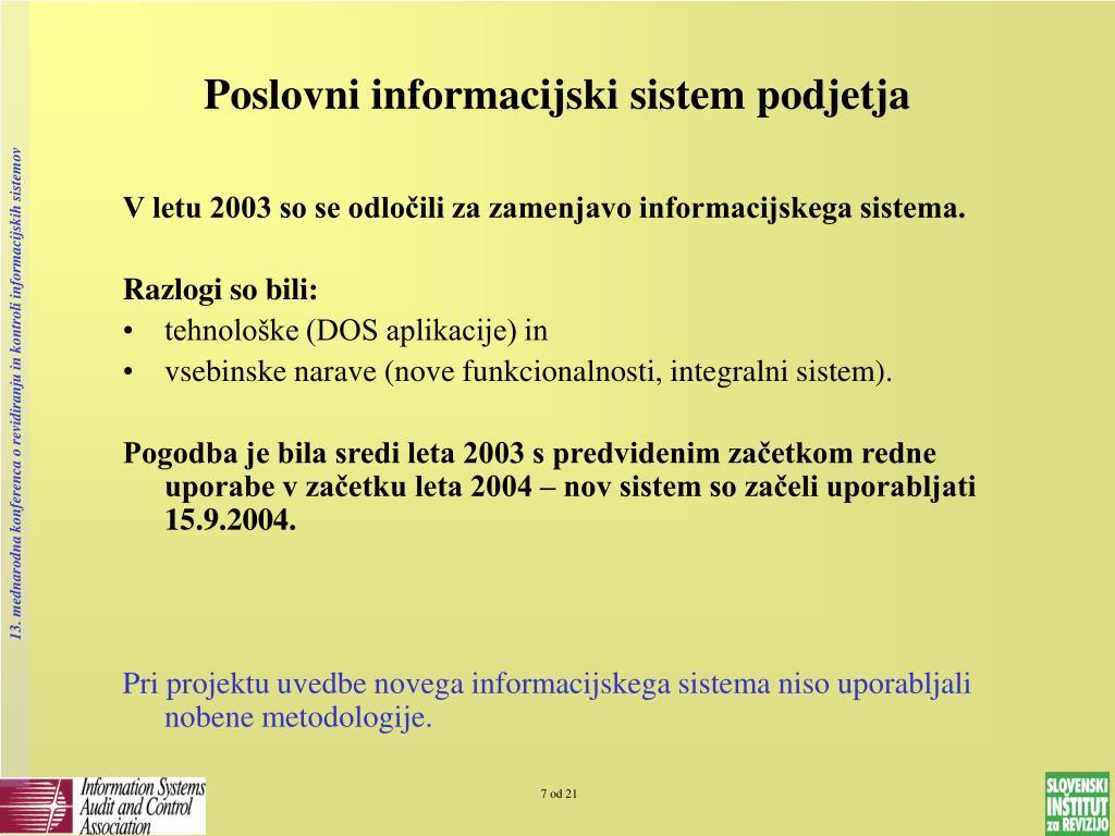 Poslovni informacijski sistem podjetja