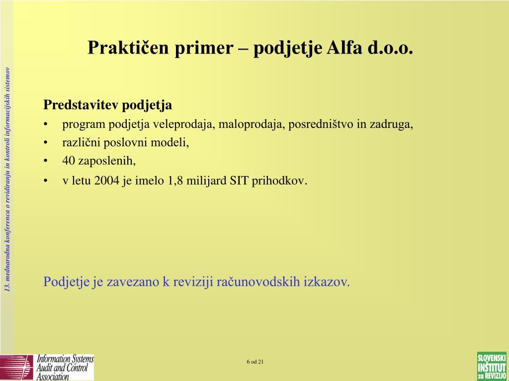 Praktičen primer – podjetje Alfa d.o.o.