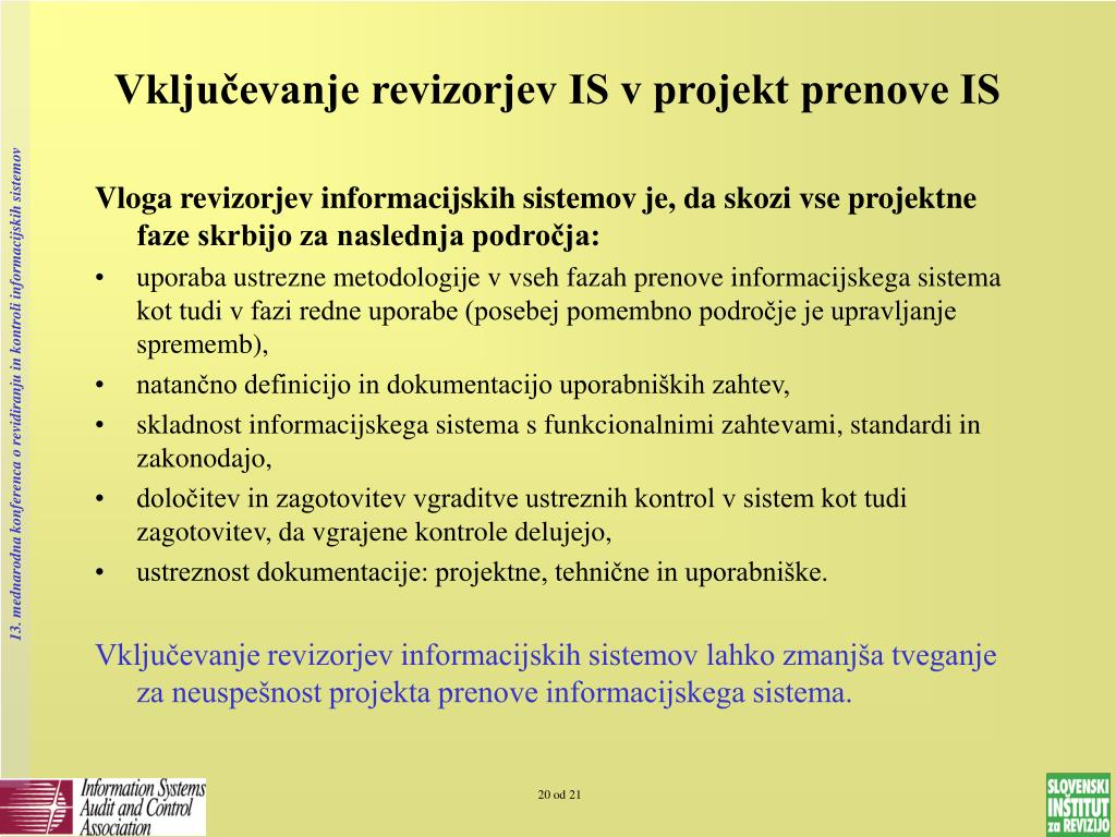 Vključevanje revizorjev IS v projekt prenove IS