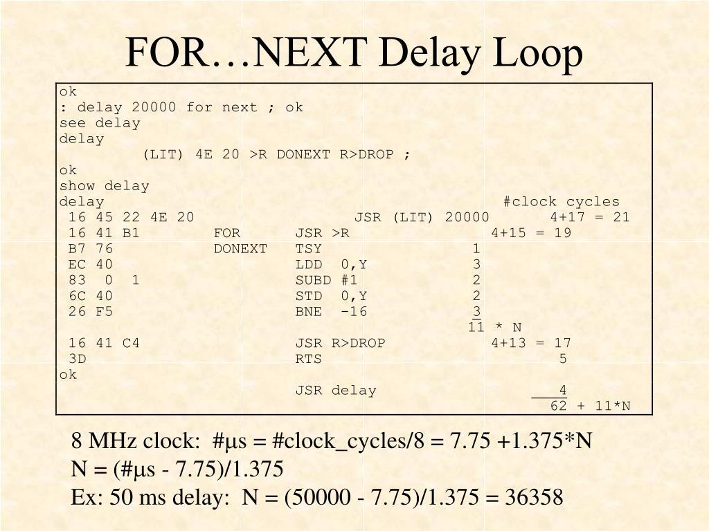 FOR…NEXT Delay Loop