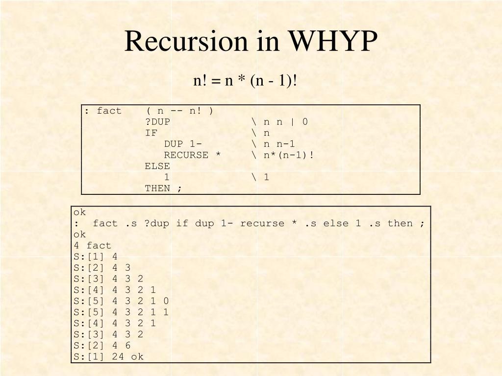 Recursion in WHYP