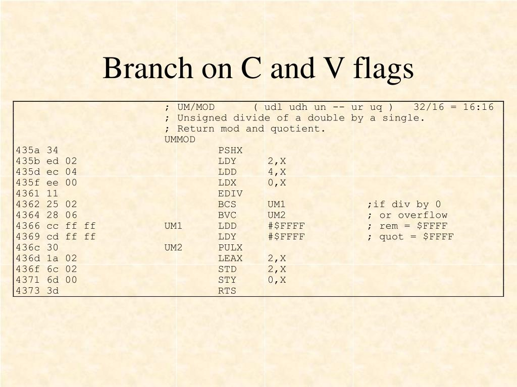 Branch on C and V flags