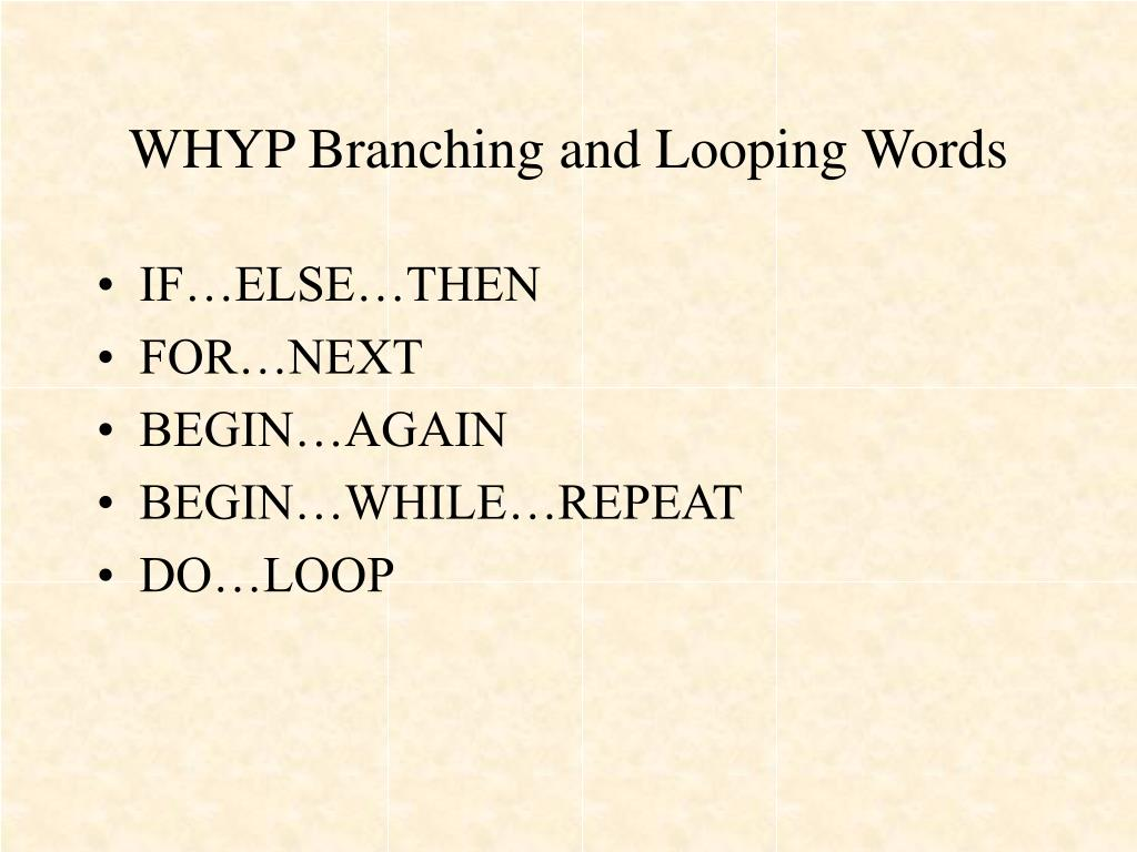WHYP Branching and Looping Words