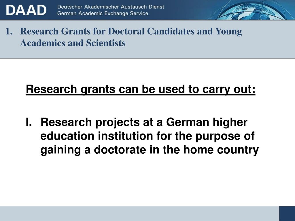 Research Grants for Doctoral Candidates and Young