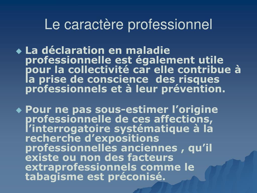 Le caractère professionnel