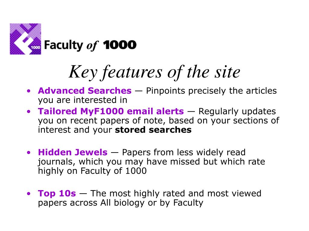 Key features of the site