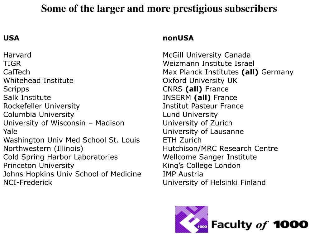 Some of the larger and more prestigious subscribers