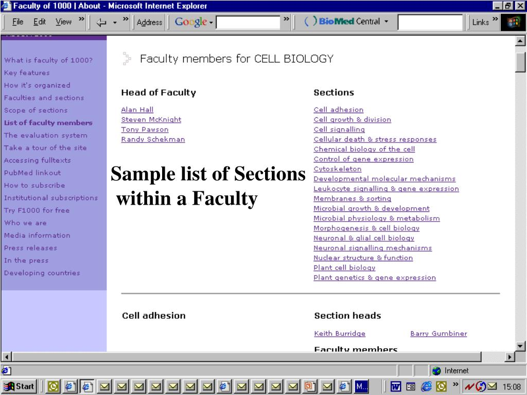 Sample list of Sections