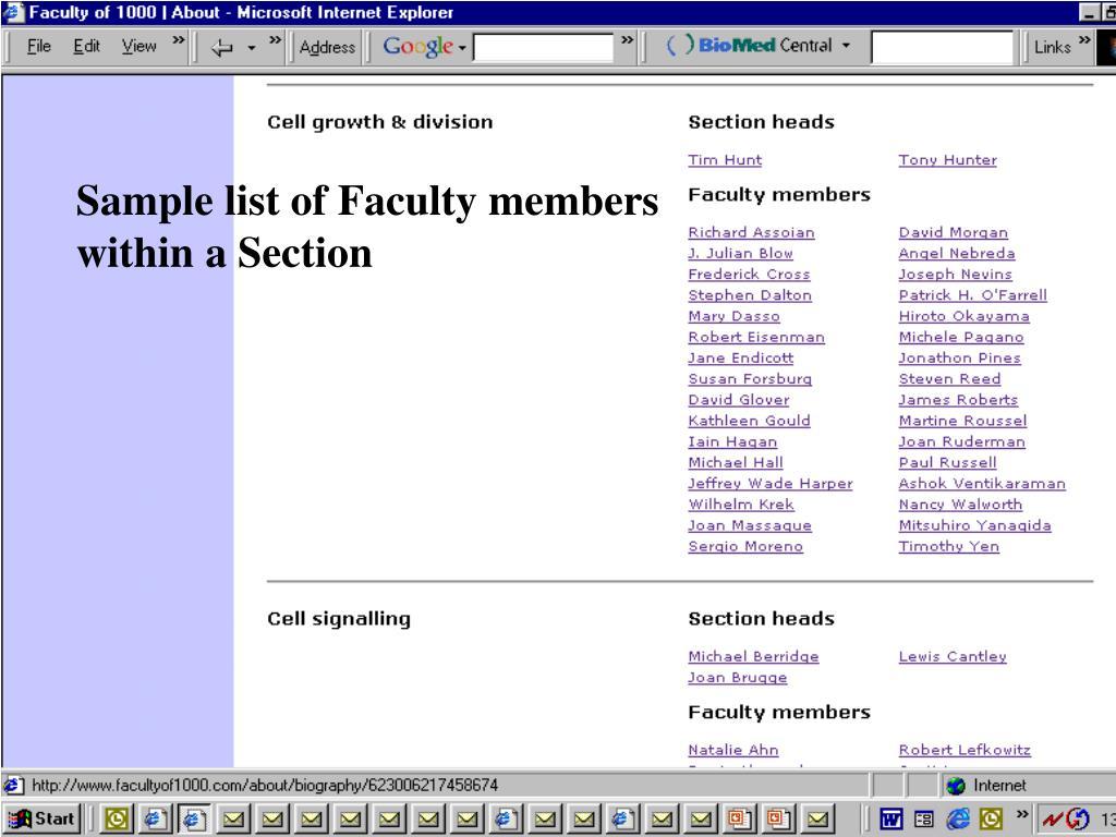 Sample list of Faculty members