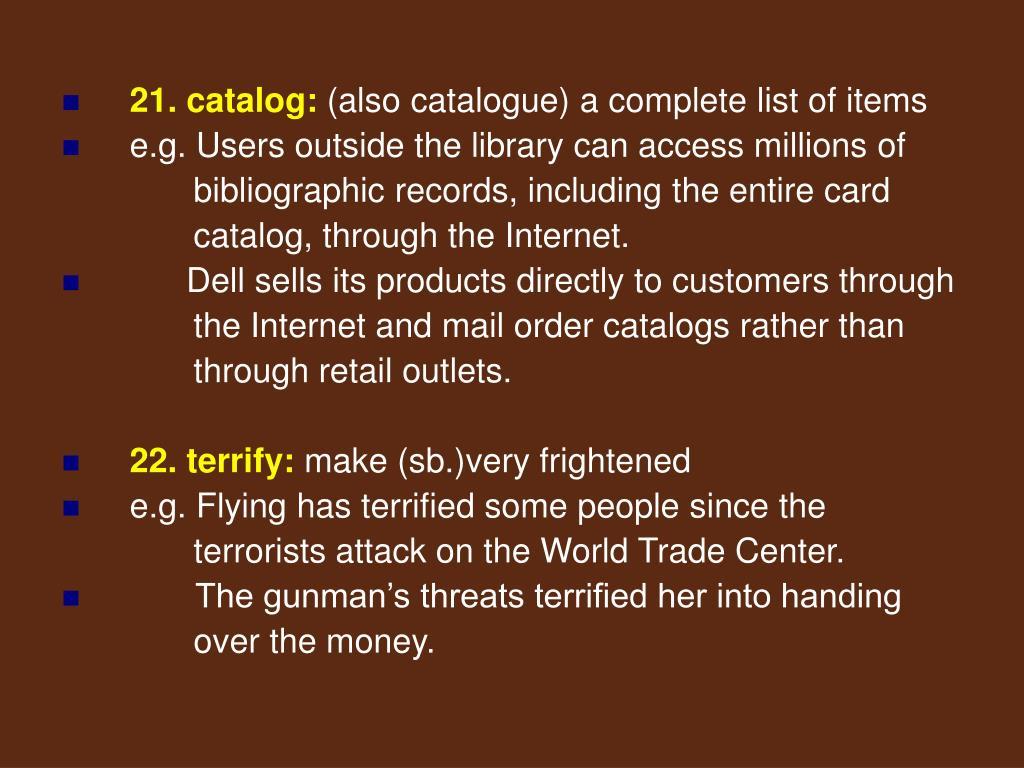 21. catalog:
