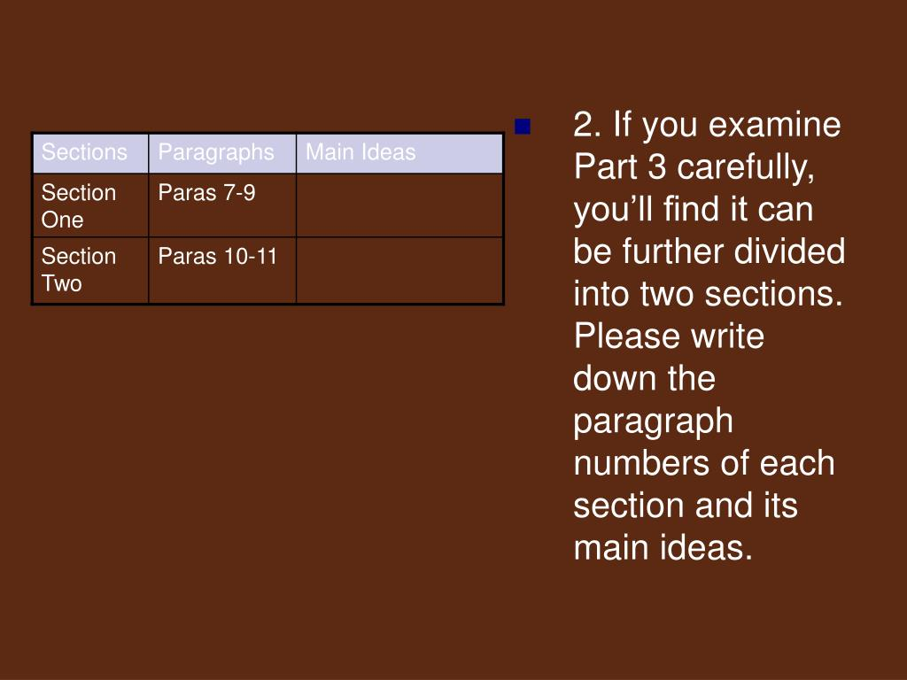 2. If you examine Part 3 carefully, you'll find it can be further divided into two sections. Please write down the paragraph numbers of each section and its main ideas.