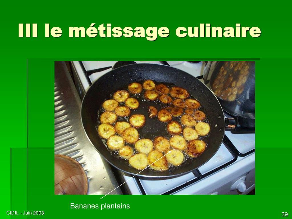III le métissage culinaire