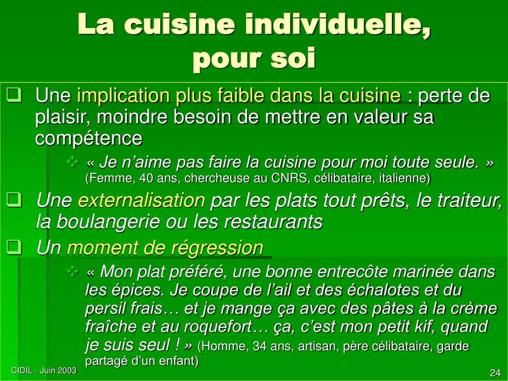 La cuisine individuelle,