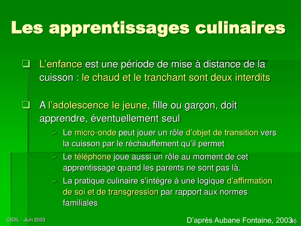 Les apprentissages culinaires