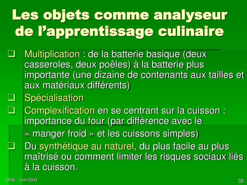 Les objets comme analyseur de l'apprentissage culinaire