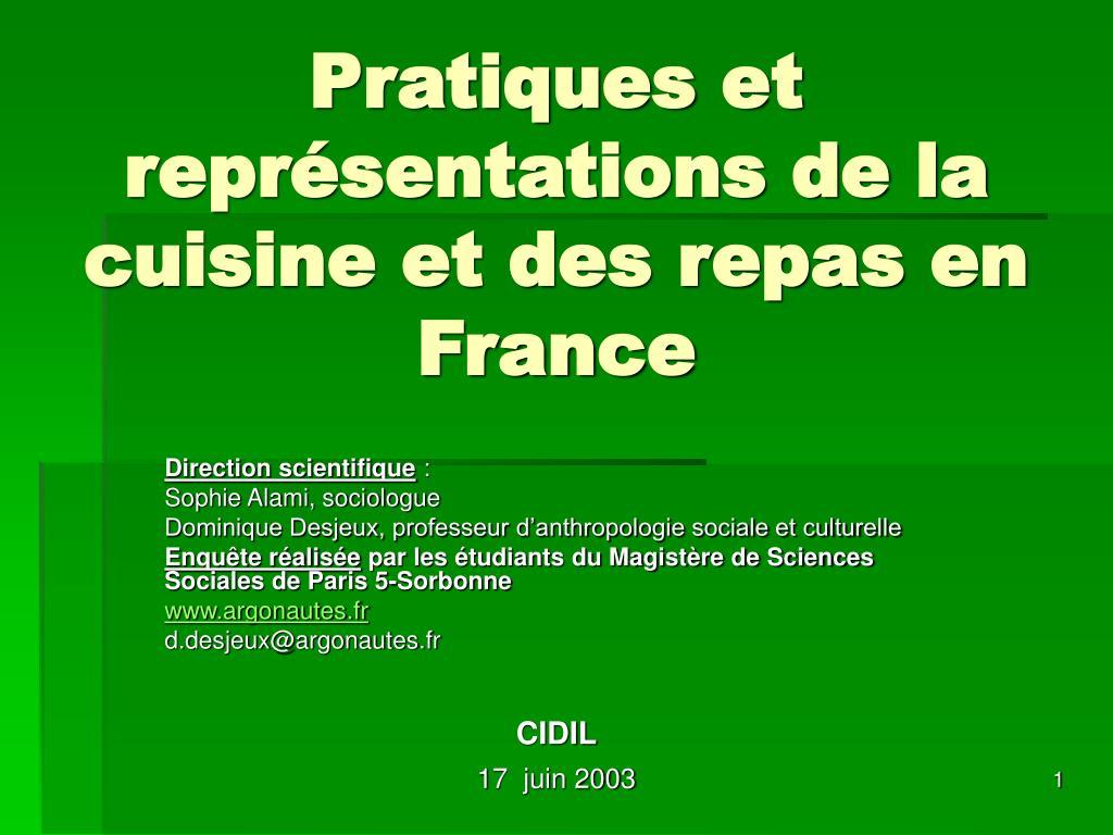 Pratiques et représentations de la cuisine et des repas en France
