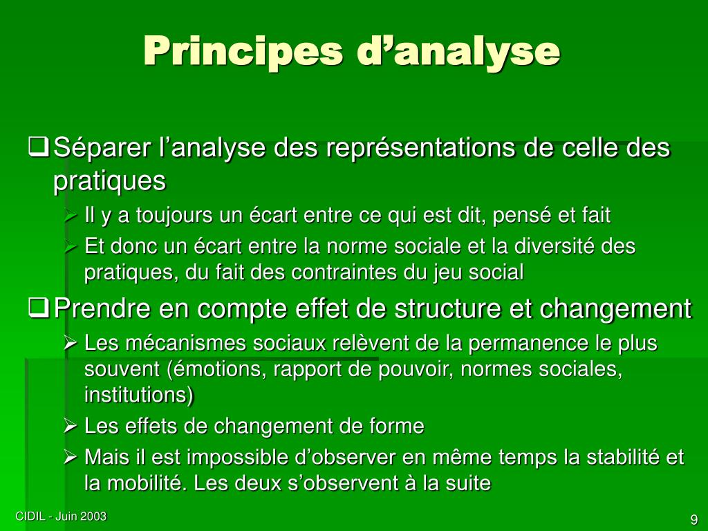 Principes d'analyse